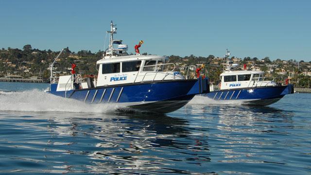 PHOTO:Harbor Police boats patrol in San Diego Bay.