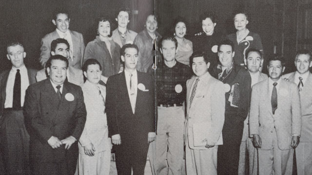 PHOTO: San Jose Community Service Organization 1954. Fred Ross is in center flanked by Ed Roybal and Herman Gallegos. Also pictured are Saul Alinksy (far left), Cesar Chavez (second from right) and Helen Chaves (third from right, top row).