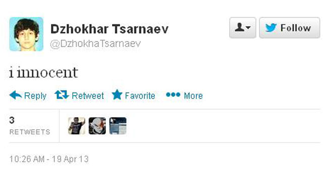 PHOTO:A fake online account declares the suspected Boston bomber innocent.