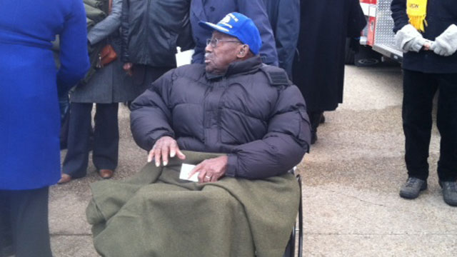 PHOTO:A veteran attends the inauguration.