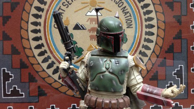 "PHOTO: ""Star Wars"" character Boba Fett in front of the Navajo Nation seal."