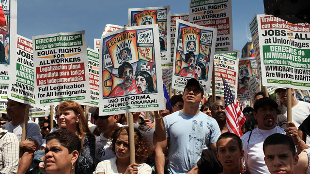 PHOTO:Hundreds of activists, supporters of illegal immigrants and members of the Latino community rally against a new Arizona law in Union Square on May Day on May 1, 2010 in New York City.