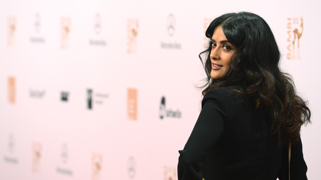 PHOTO:Mexican actress Salma Hayek poses for photographers as she arrives on the red carpet for the Bambi awards in Duesseldorf, western Germany, on November 22, 2012. The Bambis are the main German media awards.
