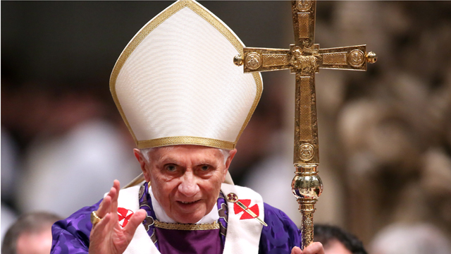 PHOTO: Pope Benedict XVI leads the Ash Wednesday service at the St. Peters Basilica on February 13, 2013 in Vatican City, Vatican.