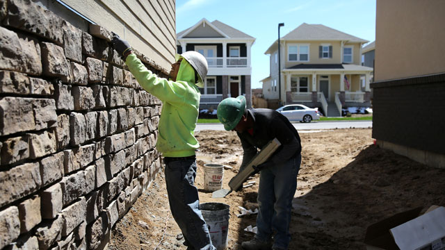 PHOTO: Mexican immigrants work on a housing development on May 3, 2013 in Denver, Colorado. The resurgent housing market has helped drive down unemployment for American workers but also for undocumented immigrants, many of whom work in construction.