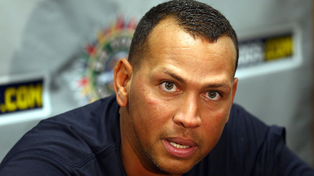 PHOTO:Alex Rodriguez of the New York Yankess speaks to the media before his game for the Charleston RiverDogs at Joseph P. Riley Jr. Park on July 2, 2013 in Charleston, South Carolina.