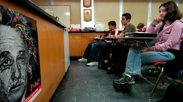 PHOTO:Members of the AP Chemistry class at Thomas Jefferson High School in Denver, CO, listen and make notes during a lesson on kinetics on Jan. 23, 2007.
