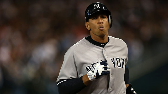 PHOTO:Alex Rodriguez #13 of the New York Yankees walks off the field back to the dugout after he grounded out in the top of the 9th inning against the Detroit Tigers during the American League Championship Series on October 18, 2012.