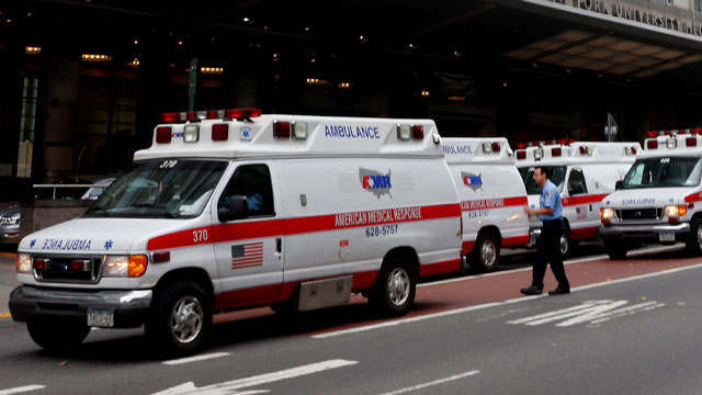 PHOTO:  Ambulances gather outside of NYU Langone Medical Center.