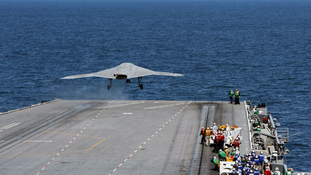 PHOTO: In this handout released by the U.S. Navy, An X-47B Unmanned Combat Air System (UCAS) demonstrator launches from the flight deck of the aircraft carrier USS George H.W. Bush (CVN 77) May 14, 2013 in the Atlantic Ocean.