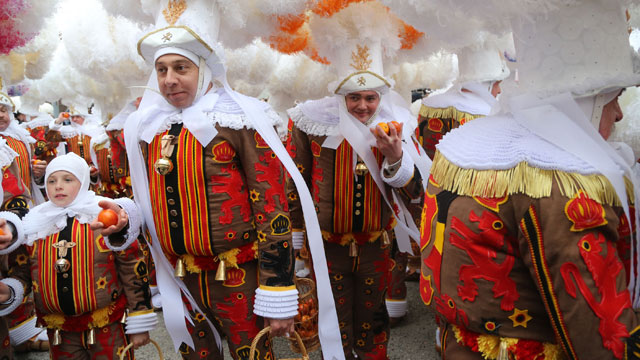 PHOTO:Carnival celebrations in Binche, Belgium.
