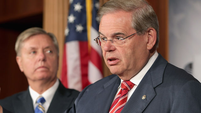 PHOTO:U.S. Senate Foreign Relations Committee Chairman Robert Menendez (D-N.J.) (R) and U.S. Sen. Lindsey Graham (R-S.C.) hold a news conference on May 22, 2013 in Washington, D.C.