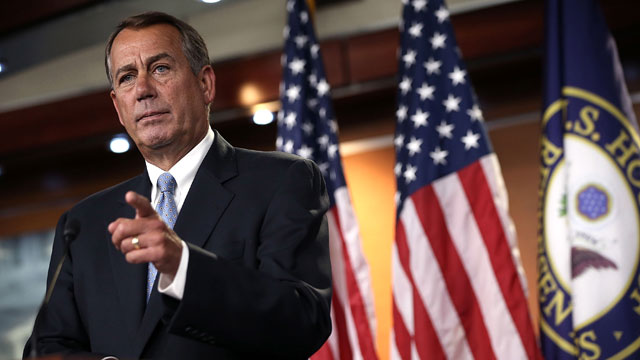 PHOTO:Speaker of the House John Boehner (R-Ohio) speaks during his weekly news conference June 6, 2013 on Capitol Hill in Washington, D.C.
