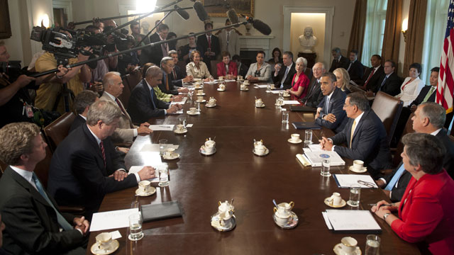 PHOTO: US President Barack Obama (center R) Holds A Cabinet Meeting In The
