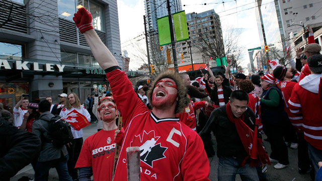 PHOTO:A Canadian hockey fan celebrates victory over the U.S. in the 2010 Olympics.