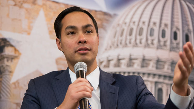 PHOTO:Julian Castro, mayor of San Antonio, and his brother Rep. Joaquin Castro, D-Texas, not pictured, participate in a discussion at the SA to DC conference held at the Marriott at Metro Center.