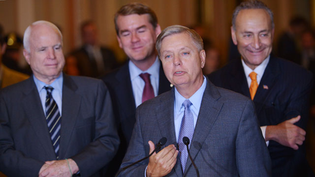 PHOTO:Sen. Lindsey Graham speaks reporters following a vote on the immigration bill on June 27, 2013 at the U.S. Capitol in Washington, D.C.