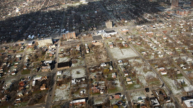 PHOTO:A neighborhood stands with numerous empty lots on November 21, 2008 in Detroit, Michigan.