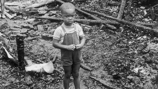 PHOTO:African-American child in Detroit during the race riots in 1967.