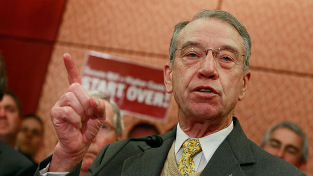 PHOTO: Sen. Charles Grassley (R-Iowa) speaks about the health care bill during a news conference on Capitol Hill on December 9, 2009 in Washington, D.C.