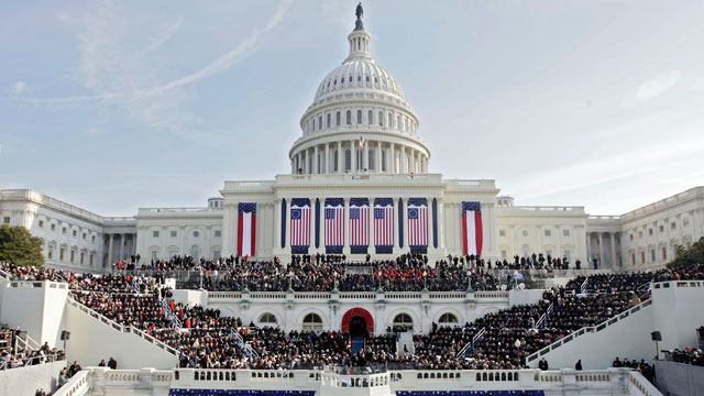 PHOTO:People fill the West Front of the Capitol ahead of the inauguration of Barack Obama as the 44th President of the United States of America