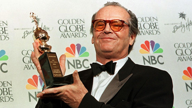 PHOTO:Actor Jack Nicholson holds the award he received
