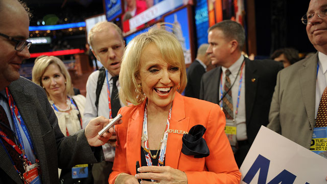 PHOTO:Janice Kay Jan Brewer, governor of Arizona, smiles after speaking at the Republican National Convention (RNC) in Tampa, Florida, U.S., on Tuesday, Aug. 28, 2012.