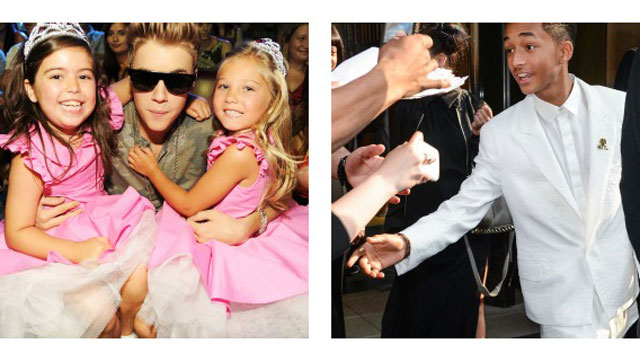 PHOTO:Sophia Grace & Rosie pose with Justin Bieber at the 2102 Teen Choice Awards, Jaden Smith greets fans in NYC. And Im getting sandwich crumbs stuck in my keyboard.