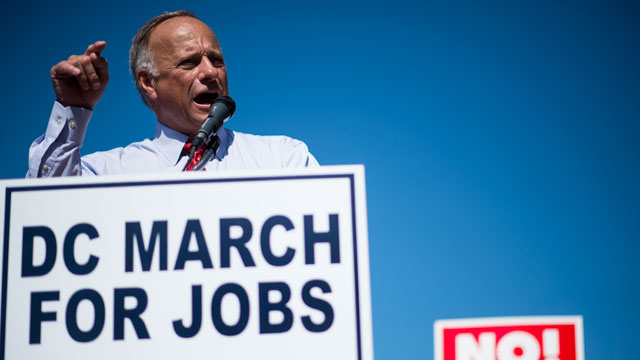 PHOTO:Rep. Steve King, R-Iowa, speaks during the Black American Leadership Alliances D.C. March for Jobs rally at Freedom Plaza in Washington on Monday, July 15, 2013.