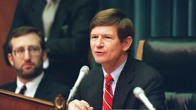 PHOTO: Rep. Lamar Smith (R-Texas) during a 1998 Immigration and Claims Subcommittee of House Judiciary Committee markup of legislation on religious persecution and immigrant visas.