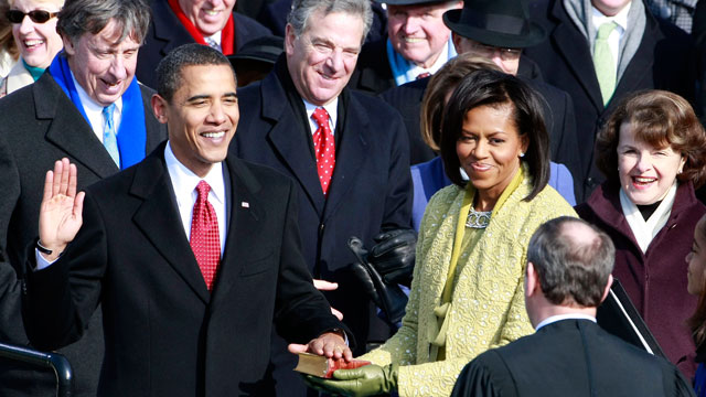 PHOTO:Barack H. Obama is sworn in by Chief Justice John Roberts
