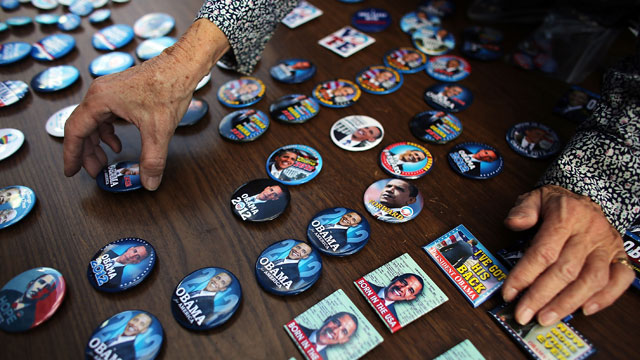 PHOTO: Buttons of President Obama are displayed by the Three Peaks Independent Democrats on October 10, 2012 in New York City. According to Gallup, Democrats have reestablished a lead in party affiliation over Republicans for the first time since 2009.