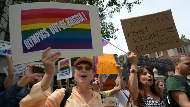 PHOTO:Protesters hold a demonstration against Russian anti-gay legislation and against Russian President Vladimir Putin stands on gay rights, in front of the Russian Consulate in New York, July 31, 2013.