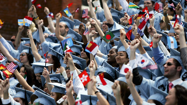 PHOTO: Students cheer during commencment ceremonies at Columbia University May 18, 2005 in New York City. This is the 251st class to graduate from Columbia.