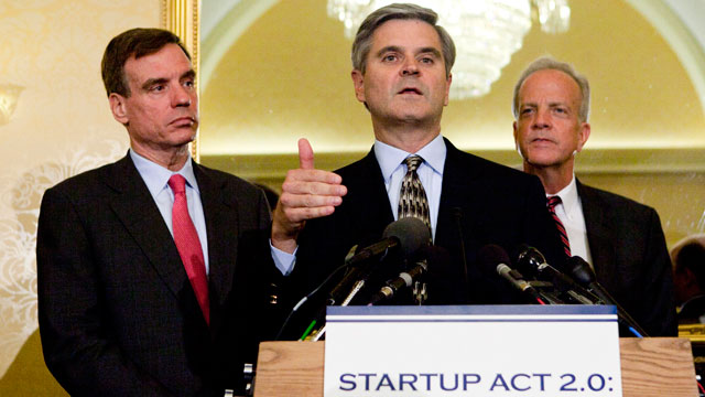 PHOTO:Steve Case, a member of President Obamas Council on Jobs and Competitiveness, speaks as Senators Jerry Moran (R-KS) and Mark Warner (D-VA) look on, at the Capitol in Washington, D.C., on Tuesday, May 22, 2012.