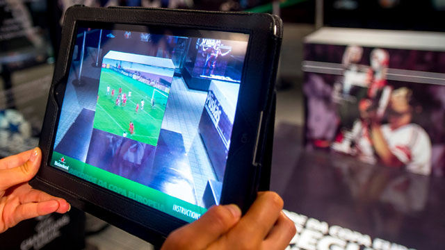 PHOTO:  Technology demonstration of augmented reality during the UEFA Champions League Trophy Tour 2013