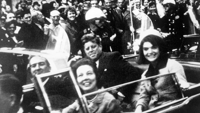 John F Kennedy motorcade, Dallas, Texas USA, 22 November 1963. Close-up view of President and Mrs Kennedy and Texas Governor John Connally and his wife.