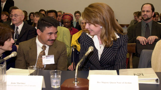 PHOTO: Jesus Martinez a lindmine survivor, listens to Queen Noor of Jordan as she testifies before the House Human Rights Caucus Hearing on an appeal for U.S. humanitarian assistance for landmine survivors.