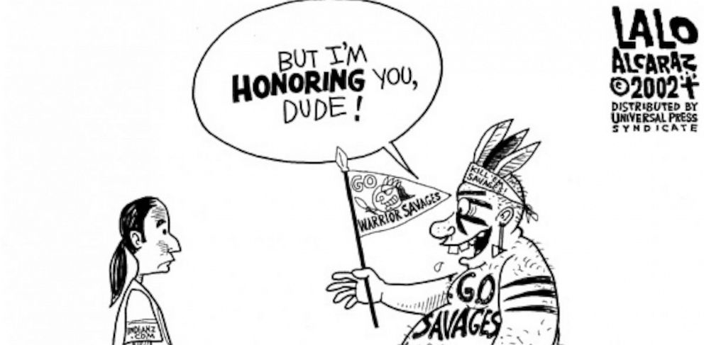 PHOTO: Lalo Alcaraz illustrates Native American misappropriation by Redskins fans.