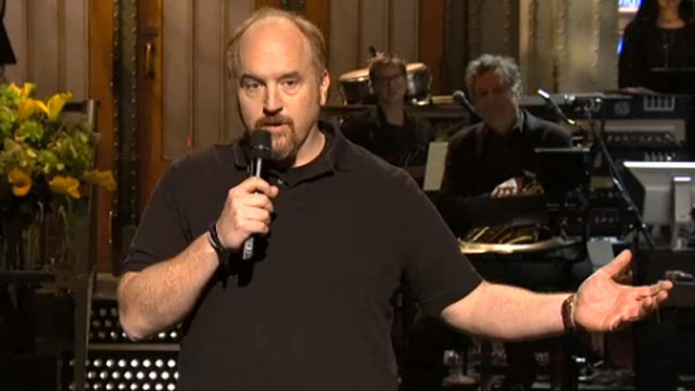 Louis C.K. opened his SNL hosting gig with a hilarious skit about his complicated relationship with the elderly.