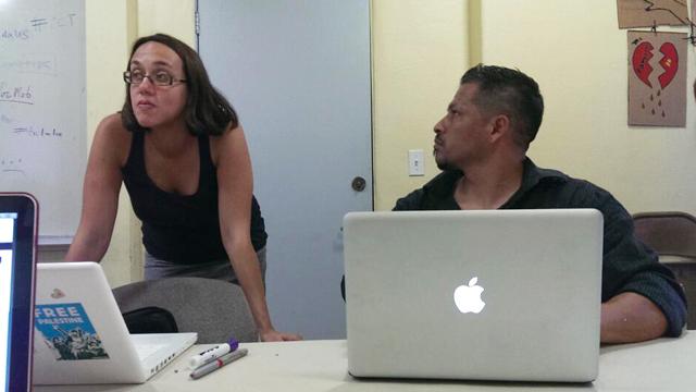 PHOTO:Mamita Mala teaches a social media workshop to members of VozMob in Pico Union, Los Angeles.
