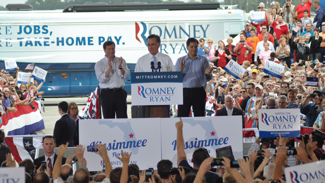 PHOTO: Gov. Mitt Romney speaks to a crowd in Osceola, Fla., with Senator Marco Rubio during a rally in swing county where Latinos carry significant sway.