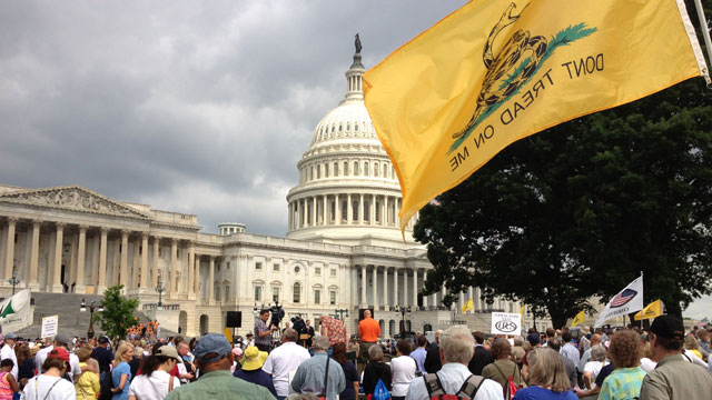 PHOTO:Tea Party activists listen to Rep. Steve King (R-Iowa) speak at an anti-immigration reform rally outside the U.S. Capitol on June 19, 2013
