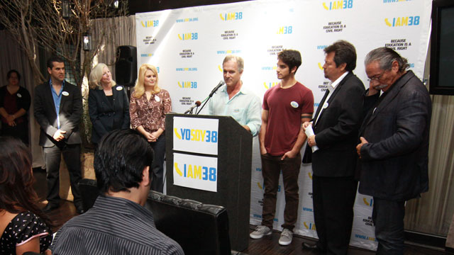 PHOTO:LOS ANGELES, CA - SEPTEMBER 26: I AM 38 Press Conference with Edward James Olmos, Molly Munger, Melissa Revuelta, Tyler Posey, John Posey, Rick Najera and Marco Antonio Regil held at BESO Restaurant on September 26, 2012 in Los Angeles, California
