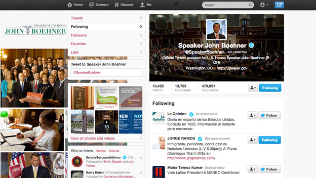 PHOTO: The Twitter account of House Speaker John Boehner (R-Ohio) followed around 85 Hispanic media outlets and journalists on Friday.
