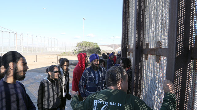 PHOTO: A group of students tours Friendship Park on U.S.-Mexico border.