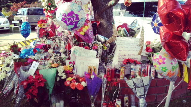 PHOTO:A makeshift altar in front of the Lakewood, Calif. home of Pedro and Rosa Rivera, Jennis parents.