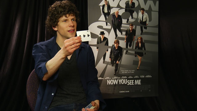 "PHOTO: Jesse Eisenberg does a card trick that he learned on the set of his new movie ""Now You See Me""."