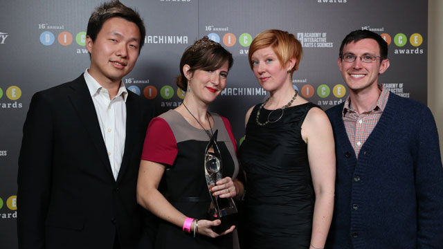 """PHOTO:Jenova Chen, Kellee Santiago, Robin Hunicke and Martin Middleton are part of the team that created """"Journey,"""" a video game that won eight awards, including best art direction, innovation in gaming and best game, the top award."""