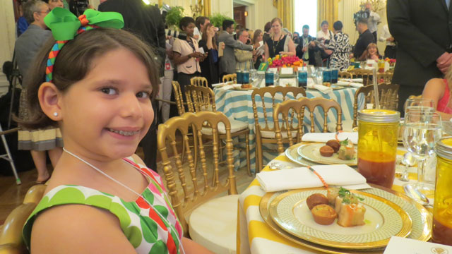 PHOTO:Aliana Arzola-Pinero submitted a winning eggplant lasagna roll recipe to earn a trip to the second annual Kids State Dinner at the White House in Washington, DC, on July 9, 2013.